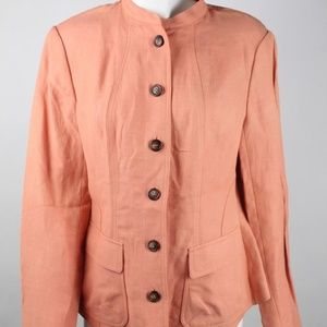 Anne Klein Womens Equator Jacket Solid Clay Casual